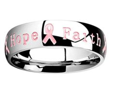 Pink Ribbon Ring with 'Courage Strength Hope Faith' Inscription - Size 8