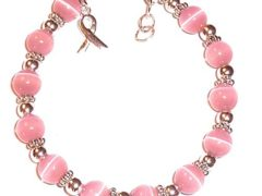 Prepackaged (7 3/4 in.) BREAST Cancer Awareness Bracelet, 8mm