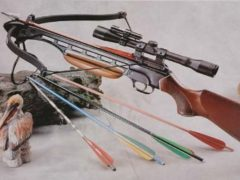 150 Lbs Wood Crossbow with Scope and Pack of Metal Arrows