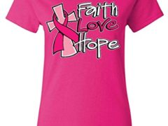 Shop4Ever® Faith Love Hope Women's T-Shirt Breast Cancer Awareness Shirts Medium Heliconia Pink 12817