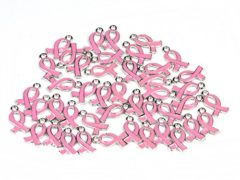 15*10mm Pink Ribbon Pendant Breast Cancer Awareness Charms Beads Dangle Pendant accessories 20pcs