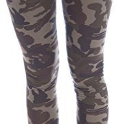 Zenana Women's Cotton Spandex Jersey Camouflage Leggings Medium Olive