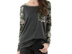 Gotd Women Camouflage Pocket Long Sleeve Round Neck Pullover Blouse