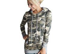 XILALU Womens Camouflage Printing Pocket Hoodie Sweatshirt Pullover