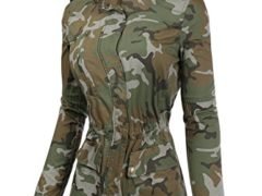BIADANI Women Camo Print Anorak Zipper Jacket Olive Large