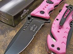 Master PINK Skull Medallion Tactical Blade Rescue Spring Assisted Pocket Knife