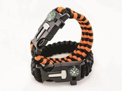 Dream On Outdoor Survival Paracord Bracelet With Compass Fire Starter And Emergency Whistle (Orange)