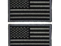 2 pieces Tactical USA Flag Patch -Black & Gray- Velcro American Flag US