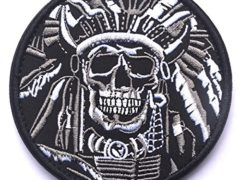 WZT Death Skull War Chief Indian Usa Army Morale Military Tactical Swat Velcro Patch (2)