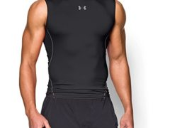 Under Armour Men's HeatGear Armour Sleeveless Compression Shirt, Black/Steel, XX-Large