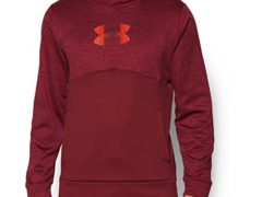 Under Armour Men's Storm Icon Logo Twist Hoodie, Cardinal/Bolt Orange, Large