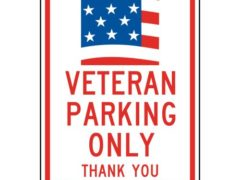 ComplianceSigns Aluminum Parking Control sign, Reflective 18 x 12 in. with Parking Veteran / Wounded Warrior info in English, White
